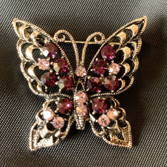Vintage gold-colored metal brooch costume jewelry from the 80s  90s